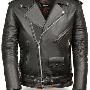Milwaukee Men's Leather Police Motorcycle Jacket